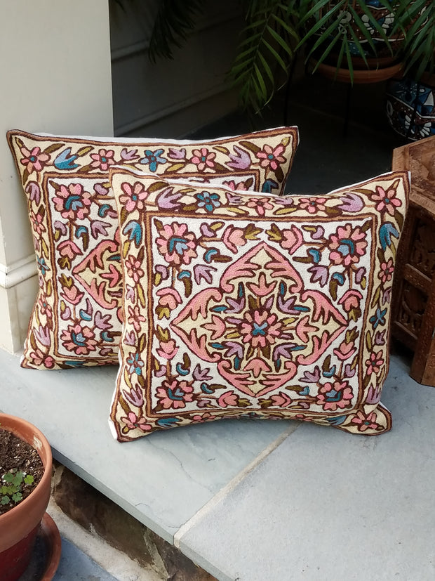 cushion covers, chain stitch, hand embroidered aari work, style wings, pastel pink and brown