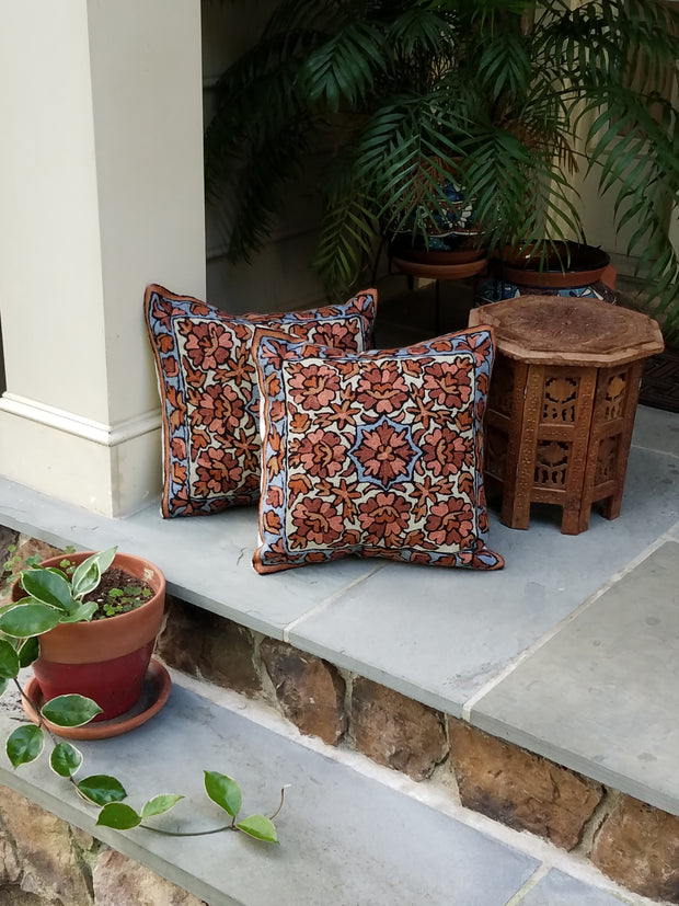 cushion covers, chain stitch, hand embroidered, aari work, style hope, flowers taupe blue