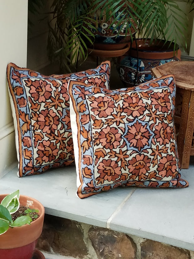 cushion covers, chain stitch, hand embroidered aari work, style hope, flowers taupe blue