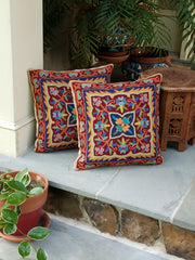 cushion covers chain stitch, hand embroidered aari work, style clover, color red navy gold