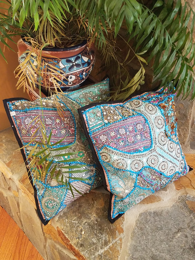 Cushion Cover Heavy Beaded Turquoise