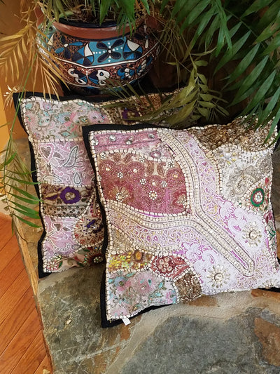 cushion covers, white, made from recycled festivity outfits, wedding outfits, beaded, shiny, handmade, India.
