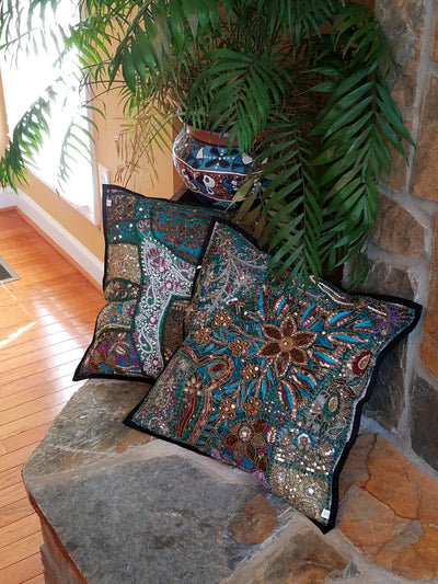 cushion covers, teal blue, made from recycled festivity outfits, wedding outfits, beaded, shiny, handmade, India.