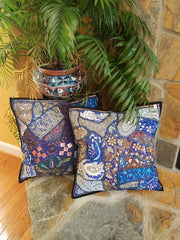 Cushion Cover Heavy Beaded Lapis