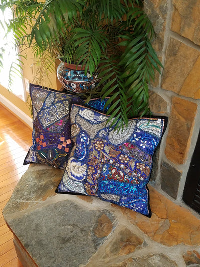 cushion covers, lapis blue, made from recycled festivity outfits, wedding outfits, beaded, shiny, handmade, India.