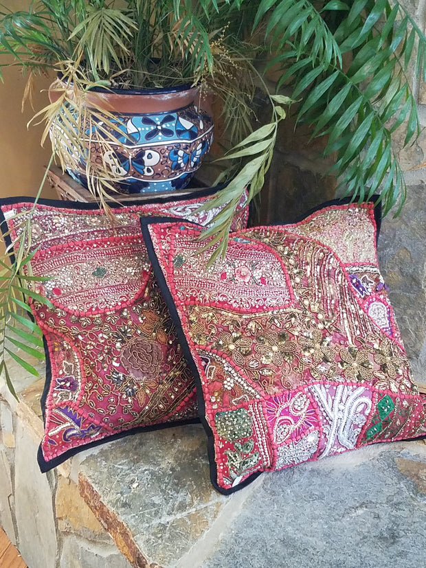Cushion Cover Heavy Beaded Pink