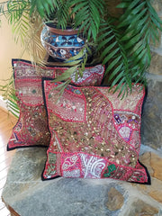 cushion covers, pink, made from recycled festivity outfits, wedding outfits, beaded, shiny, handmade, India.