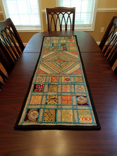 "Table Runner Lace Square 60"" Turquoise"