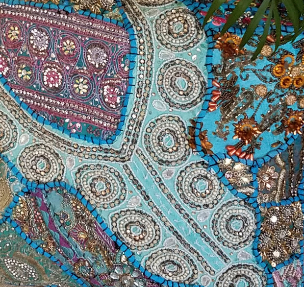 cushion covers, turquoise blue, made from recycled festivity outfits, wedding outfits, beaded, shiny, handmade, India.