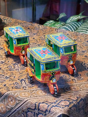 handmade in India, artisan crafted wood tabletop decor, toy auto rickshaw blue.