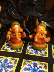 Figurine Ganesh Wood Set of 2