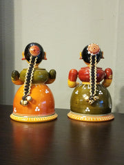 mini handcrafted wood home accent doll, tribal toy artisan craft of India.