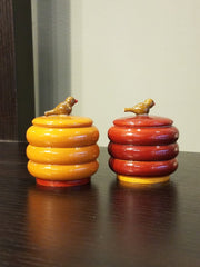 miniature handcrafted, accent toy jars with bird handle, wood tribal craft from India.