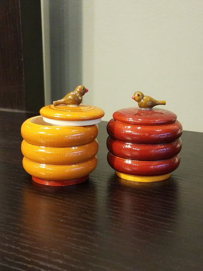 miniature handcrafted, accent toy jars, wood tribal craft from India.