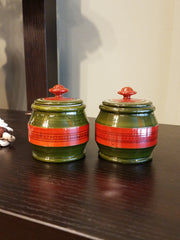 miniature handcrafted, accent toy jars red green, wood tribal craft from India.