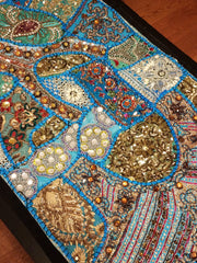 Table Runner Heavy Beaded Turquoise 2