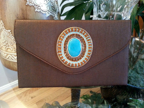 Clutch Cabochon Medallion BRWN