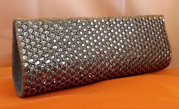 side view of brown and gold rhinestone clutch for evening, wedding and formal occasions.