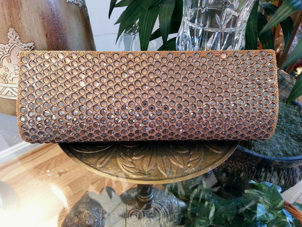 brown and gold rhinestone clutch for evening, wedding and formal occasions.