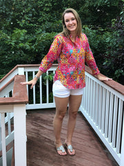 spring floral screen print, cotton long sleeve women's shirt with contrast trim and fabric covered buttons.