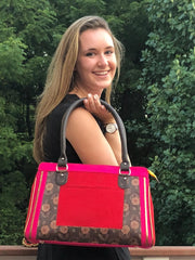 floral print hot pink, red and brown cotton handbag with faux leather strap