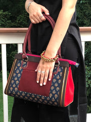 navy burgundy cotton printed boho chic handbag and gold tribal bracelet