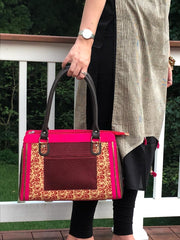 playful hot pink and brown cotton print handbag with faux leather strap