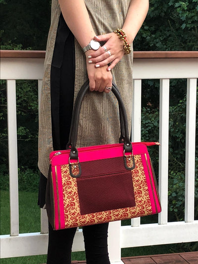 hot pink and brown cotton print handbag with faux leather strap