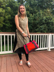 playful navy and red cotton printed boho chic handbag with embroidered shoulder straps