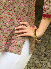 Tunic Short Sage Pink Blossoms