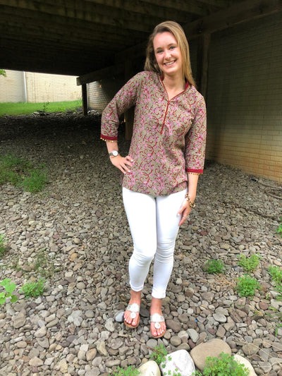cotton boho chic short tunics, block print, fine sequence trim, sported with white denim jeans.