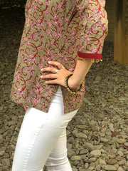sequence trim on sleeve of cotton boho chic short tunics, block print.