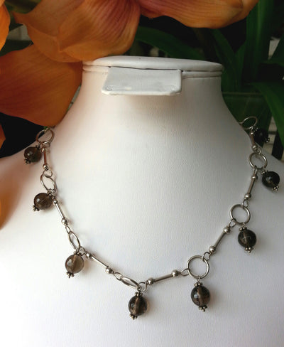 Necklace Gem Smoky Single Drop