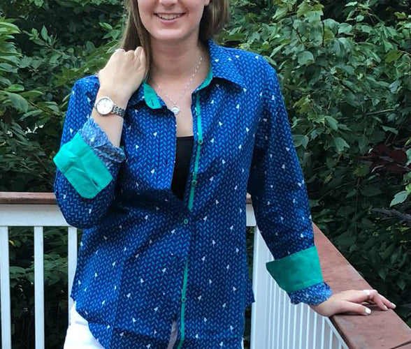 tiny bird print blue cotton print women's shirt, with contrast color teal trim on placket and sleeves, fabric covered buttons.