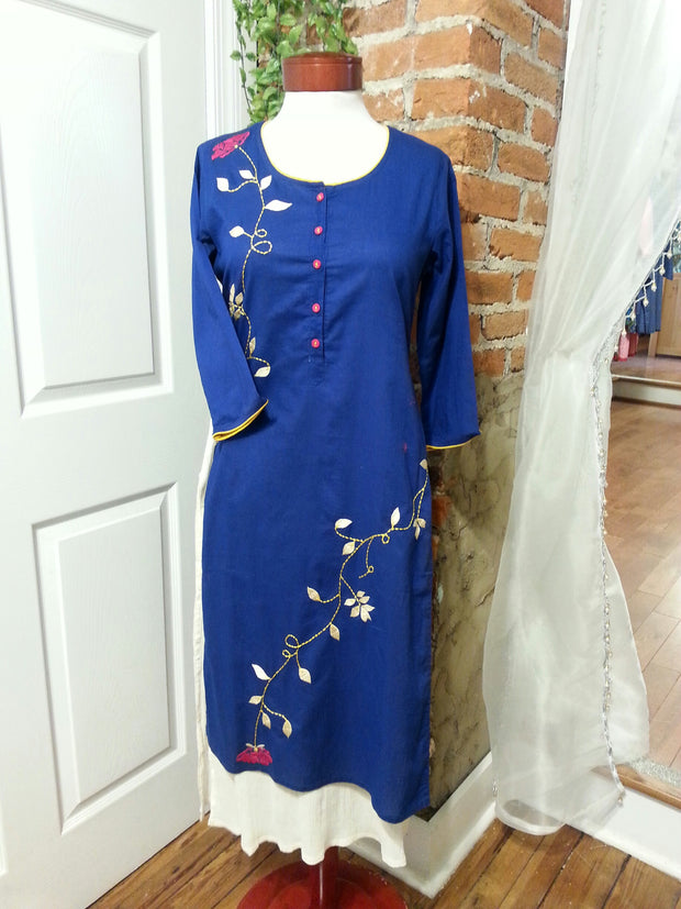 double layered boho chic tunic dress, lapis blue color with embroidered red roses vine and 3/4th long sleeves.