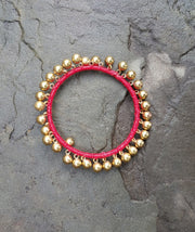 Bangle Brass Bubbles Red
