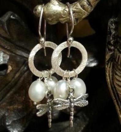 Earring Silver Dragonfly