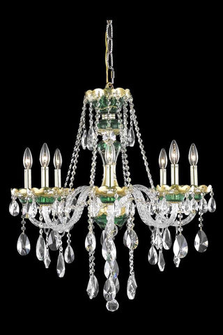 Chandelier Chrome Finish Green and Clear Crystal #010835-015