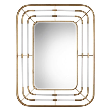 Accessories Mirror Clear Rods and Gold Leaf Metal 20-418-Rosa-JS