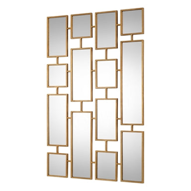Accessories  Antique Gold Leaf Finish With Rectangles Mirror  20418-JSH-Non