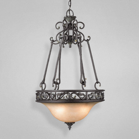 Pendant Bronze Iron Finish With Frosted Glass #020815-015