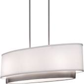 Chandelier Satin Nickel And White Linen Shade 1218-5-JSH-5