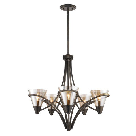 Chandelier Bronze Finish And Clear Glass #010857-015