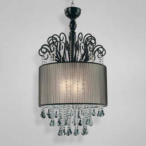 Chandelier Black Finish And Crystal Accents With Silk Shade 010215-14 FP