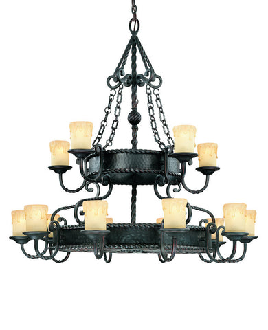 Chandelier Black Iron Finish And Cream Scavo Glass #010857-014