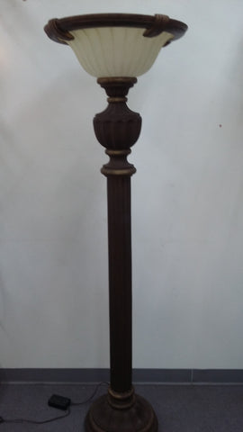 Floor Lamp Bronze And Antique Gold  Cream Glass Shade 06-118-JSH-24-1