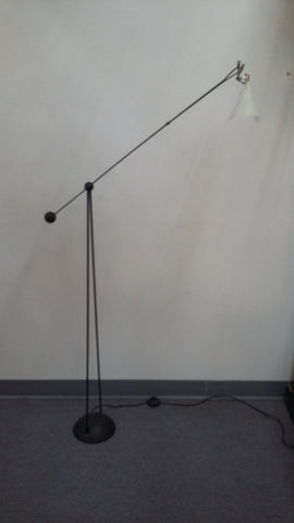 Floor Lamp Black Base With White Plastic Shade 06-118-JSH-167