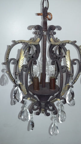 Mini Chandelier Bronze And Gold Metal  With Crystal 3-118-JSH-0002
