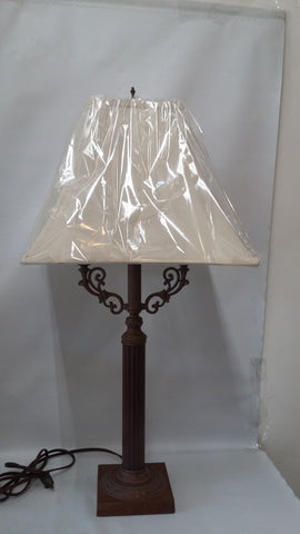 Table Lamp Bronze and Wood Base With Silk Shade 7118-JSH-301