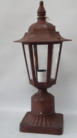 Outdoor Post Lamp Rust Finish And Acrylic Panels 1918-2525